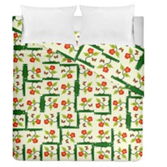 Plants And Flowers Duvet Cover Double Side (queen Size)
