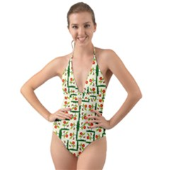 Plants And Flowers Halter Cut Out One Piece Swimsuit