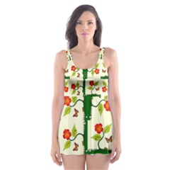 Plants And Flowers Skater Dress Swimsuit