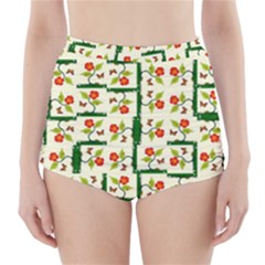 Plants And Flowers High Waisted Bikini Bottoms