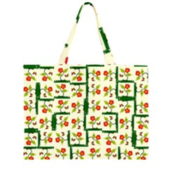 Plants And Flowers Zipper Large Tote Bag