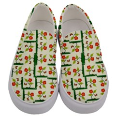 Plants And Flowers Men s Canvas Slip Ons
