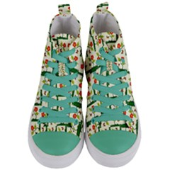 Plants And Flowers Women s Mid Top Canvas Sneakers