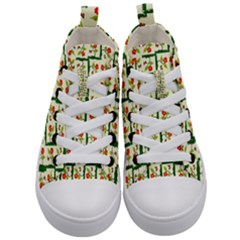 Plants And Flowers Kid s Mid Top Canvas Sneakers