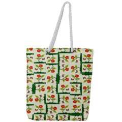 Plants And Flowers Full Print Rope Handle Tote (large)