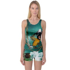 Funny Pirate Parrot With Hat One Piece Boyleg Swimsuit