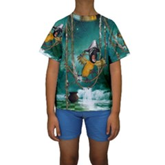 Funny Pirate Parrot With Hat Kids  Short Sleeve Swimwear