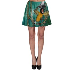 Funny Pirate Parrot With Hat Skater Skirt