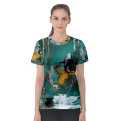 Funny Pirate Parrot With Hat Women s Sport Mesh Tee