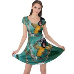 Funny Pirate Parrot With Hat Cap Sleeve Dress