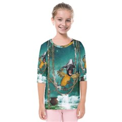 Funny Pirate Parrot With Hat Kids  Quarter Sleeve Raglan Tee