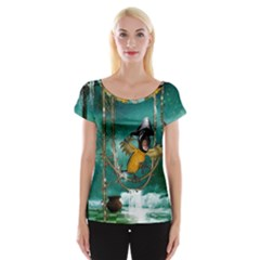 Funny Pirate Parrot With Hat Cap Sleeve Tops