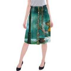 Funny Pirate Parrot With Hat Midi Beach Skirt