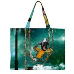 Funny Pirate Parrot With Hat Zipper Large Tote Bag