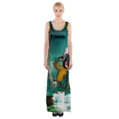 Funny Pirate Parrot With Hat Maxi Thigh Split Dress