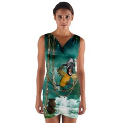 Funny Pirate Parrot With Hat Wrap Front Bodycon Dress