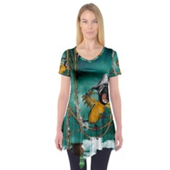 Funny Pirate Parrot With Hat Short Sleeve Tunic