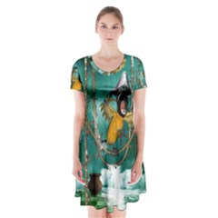 Funny Pirate Parrot With Hat Short Sleeve V Neck Flare Dress