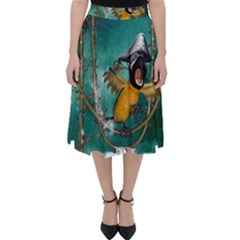 Funny Pirate Parrot With Hat Folding Skater Skirt