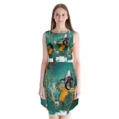 Funny Pirate Parrot With Hat Sleeveless Chiffon Dress