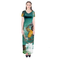 Funny Pirate Parrot With Hat Short Sleeve Maxi Dress