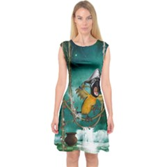 Funny Pirate Parrot With Hat Capsleeve Midi Dress
