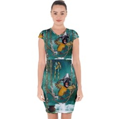 Funny Pirate Parrot With Hat Capsleeve Drawstring Dress