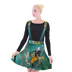 Funny Pirate Parrot With Hat Suspender Skater Skirt