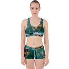Funny Pirate Parrot With Hat Work It Out Sports Bra Set