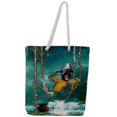 Funny Pirate Parrot With Hat Full Print Rope Handle Tote (large)