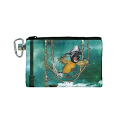 Funny Pirate Parrot With Hat Canvas Cosmetic Bag (small)