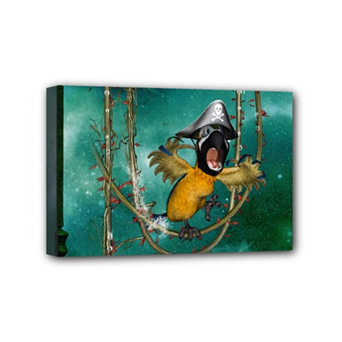 Funny Pirate Parrot With Hat Mini Canvas 6  X 4