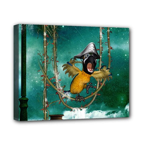 Funny Pirate Parrot With Hat Canvas 10  X 8