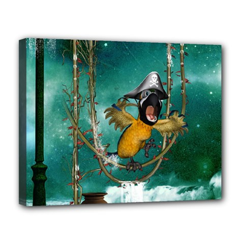 Funny Pirate Parrot With Hat Canvas 14  X 11