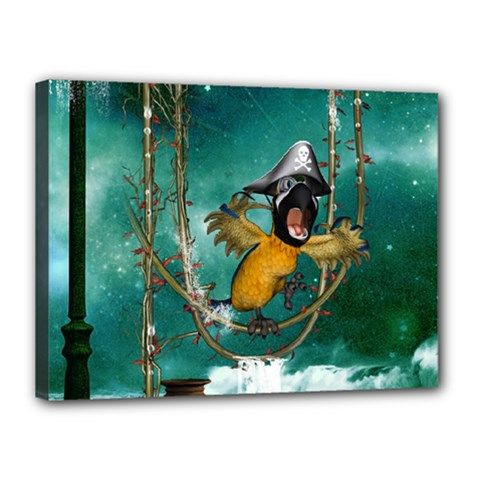 Funny Pirate Parrot With Hat Canvas 16  X 12