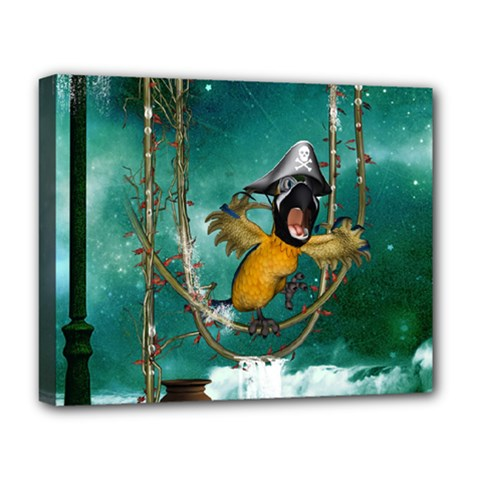 Funny Pirate Parrot With Hat Deluxe Canvas 20  X 16
