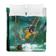 Funny Pirate Parrot With Hat Duvet Cover Double Side (full/ Double Size)
