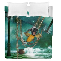 Funny Pirate Parrot With Hat Duvet Cover Double Side (queen Size)