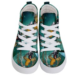 Funny Pirate Parrot With Hat Kid s Hi Top Skate Sneakers