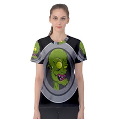 Zombie Pictured Illustration Women s Sport Mesh Tee