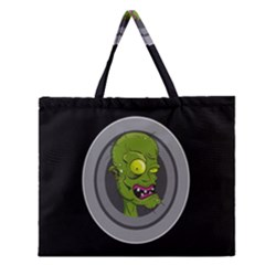 Zombie Pictured Illustration Zipper Large Tote Bag