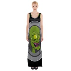Zombie Pictured Illustration Maxi Thigh Split Dress