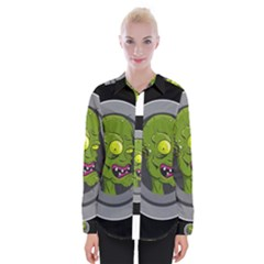 Zombie Pictured Illustration Womens Long Sleeve Shirt