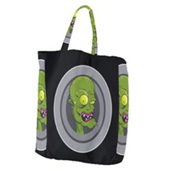 Zombie Pictured Illustration Giant Grocery Zipper Tote