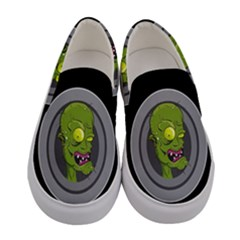 Zombie Pictured Illustration Women s Canvas Slip Ons