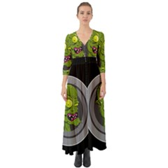 Zombie Pictured Illustration Button Up Boho Maxi Dress