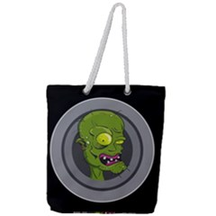 Zombie Pictured Illustration Full Print Rope Handle Tote (large)