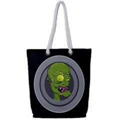 Zombie Pictured Illustration Full Print Rope Handle Tote (small)