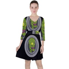 Zombie Pictured Illustration Ruffle Dress