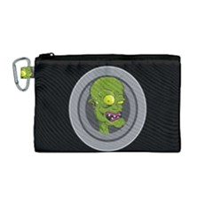 Zombie Pictured Illustration Canvas Cosmetic Bag (medium)